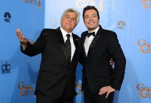 This Jan. 13, 2013, file photo shows Jay Leno and Jimmy Fallon at the Golden Globes.