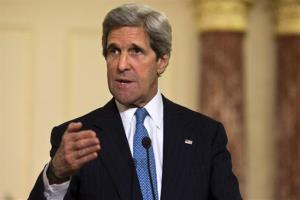 In this April 2 photo, John Kerry speaks at the State Department in Washington.