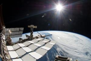 This undated file image provided by the European Space Agency on April 3 shows the International Space Station in the sunlight.
