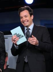 This Feb. 18, 2013 photo released by NBC shows Jimmy Fallon, host of Late Night with Jimmy Fallon, on the set in New York.