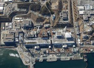 This aerial file photo taken on March 11, 2013, shows reactor buildings Unit 1 to 4, from right in the middle of the photo, at the Fukushima Dai-ichi nuclear power plant in northeastern Japan.