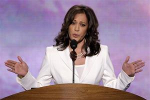 California Attorney General Kamala D. Harris addresses the Democratic National Convention in Charlotte, NC, on Wednesday, Sept. 5, 2012.
