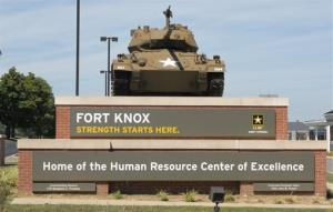 This Aug. 18, 2010 image provided by the US Army shows the Chaffee Gate entrance to Fort Knox. An Army civilian employee was shot and killed in a parking lot at Kentucky's Fort Knox on Wednesday.