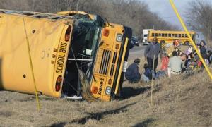 Rescue personnel attend to children from Newport Elementary School after their school bus overturned Friday near Wadsworth, Ill.