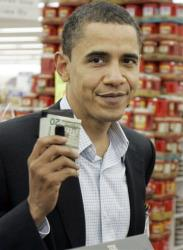 Barack Obama paying cash at a grocery store in Webster City, Iowa, in 2007.