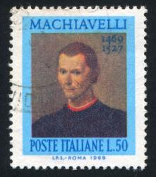 A stamp featuring Machiavelli.