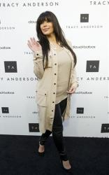 This April 4, 2013 photo released by Tracy Anderson Method shows TV personality Kim Kardashian at the opening of the Tracy Anderson flagship fitness studio in the Brentwood area of Los Angeles.
