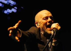 In this Sept. 24, 2008 file photo, Michael Stipe, frontman of the rock band REM, performs on stage at the Hallenstadion in Zurich, Switzerland.