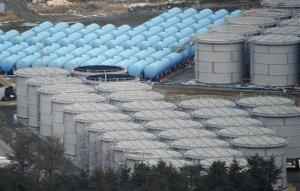 This March 11, 2012 file photo shows storage tanks for radiation-contaminated water in the compound of the tsunami-crippled Fukushima Dai-ichi nuclear power plant in northeastern Japan.