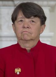 Mary Jo White stands by as President Barack Obama announces in the State Dining Room of the White House in Washington, in this Jan. 24, 2013 file photo, that he will nominate White to lead the SEC.