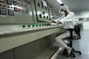 An Iranian technician works at the Uranium Conversion Facility just outside the city of Isfahan.