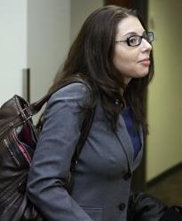 Fox news reporter Jana Winter arrives at district court in Centennial, Colo., on April 1.