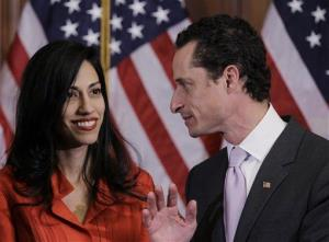In this Jan. 5, 2011 photo, Anthony Weiner and his wife Huma Abedin are seen after a ceremonial swearing in of the 112th Congress on Capitol Hill in Washington.
