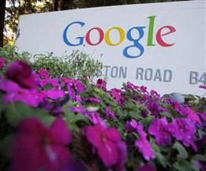 In this Oct. 8, 2010 file photo, the Google logo is displayed outside Google headquarters in Mountain View, Calif.