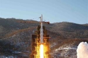 North Korea's Unha-3 rocket lifts off from the Sohae launch pad in Tongchang-ri, North Korea. North Korea threatened to nuke Japan if Japan shoots down a test launch by the North.