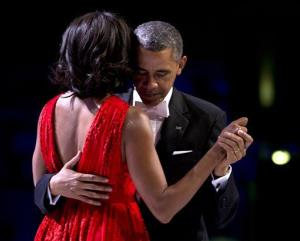 President Obama and first lady Michelle Obama dance together at an inaugural ball Jan. 21, 2013, at the Washington Convention Center.