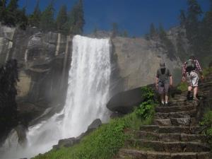 In this July 20, 2011 file photo, Hikers walk on the Mist Trail to Vernal Fall in Yosemite, Calif.