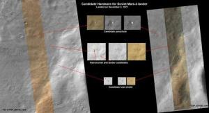 This image released by NASA shows a set of pictures taken by NASA's Mars Reconnaissance Orbiter showing what may be parts of a Soviet spacecraft that landed on Mars in 1971.