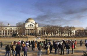 Smoke dissipates over the Smithsonian's National Museum of Natural History in Washington on Feb. 7, 2011, after a fire in a detached building containing the museum's cooling tower.