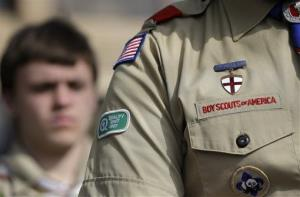 File photo of a Boy Scouts uniform fashioned with a patch supporting gay rights.