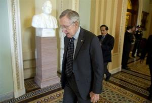 Senate Majority Leader Harry Reid leaves a caucus on Capitol Hill Thursday.