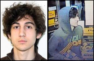 This combination of photos provided on Friday, April 19, 2013 by the Federal Bureau of Investigation, left, and the Boston Regional Intelligence Center, right, shows a suspect that officials have identified as Dzhokhar Tsarnaev.
