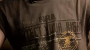 Jared Marcum wears his NRA shirt in a WOWK-TV report.