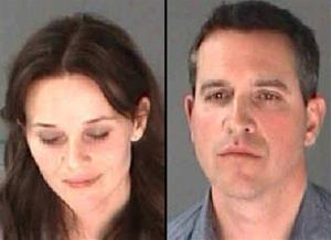 This combination of undated photo provided by the City of Atlanta Department of Corrections shows Reese Witherspoon, left, and husband James Toth.