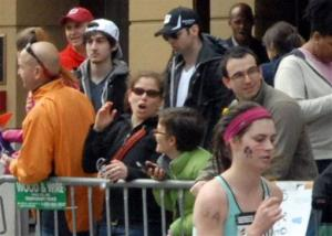 This Monday, April 15, 2013 photo provided by Bob Leonard shows third from left, Tamerlan Tsarnaev.