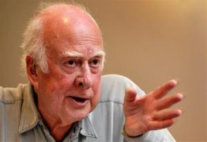 University of Edinburgh emeritus professor Peter Higgs, speaks during a press conference at the European Organization for Nuclear Research.