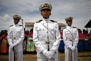 Bolivian Navy sailors attend the inauguration of a new vessel at Lake Titicaca.
