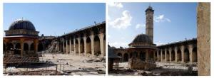 This combination of two citizen journalist images provided by Aleppo Media Center shows the minaret standing, at right, and missing.