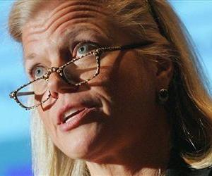 In this Feb. 16, 2006 file photo, Virginia Rometty, at the time an IBM senior vice president, speaks in New York.