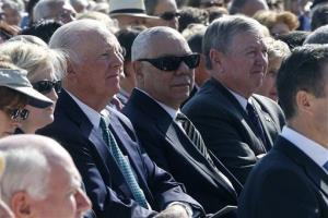 Former Secretary of State Colin Powell, center, flanked by former Attorney General John Ashcroft, right, and former Secretary of State James A. Baker III.
