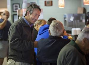 Former South Carolina Gov. Mark Sanford speaks with customers at Page's Okra Grill in Mount Pleasant, SC, on Monday, April 22, 2013.
