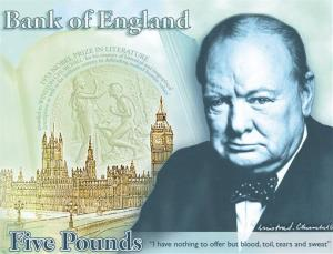 This computer-generated image provided by the Bank of England today shows the concept design for the reverse of the new 5-pound note, with a picture of former British Prime Minister Winston Churchill.