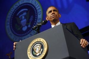 President Obama pauses while speaking at the 2013 Planned Parenthood National Conference in Washington on Friday.