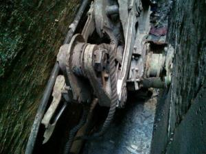This Friday, April 26, 2013, photo shows a piece of landing gear that authorities believe belongs to one of the airliners that crashed into the World Trade Center on Sept. 11, 2001.