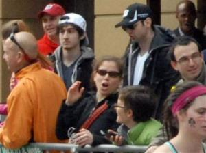 This Monday, April 15, 2013 photo shows bombing suspects Tamerlan Tsarnaev, 26, center right in black hat, and his brother, Dzhokhar A. Tsarnaev, 19, center left in white hat.