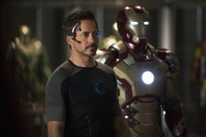 Robert Downey Jr. as Tony Stark/Iron Man in a scene from Marvel's Iron Man 3.