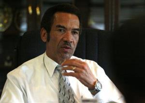 Botswana President Seretse Ian Khama speaks during an interview with the Associated Press last week.