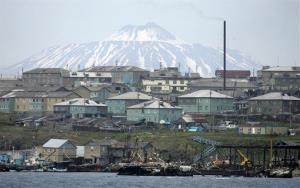 A Russian settlement on Kunashir Island, which is just 15 miles away from Hokkaido.