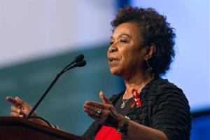 Rep. Barbara Lee, D-Calif., speaks during the opening session of the International AIDS Conference in Washington, on Sunday July 22, 2012.