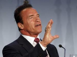 Arnold Schwarzenegger delivers a speech in Vienna, Austria, Thursday, Jan. 31, 2013.