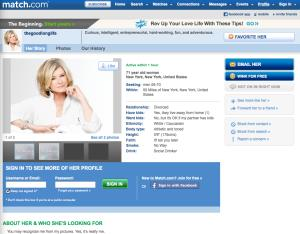 Martha Stewart's Match.com profile.