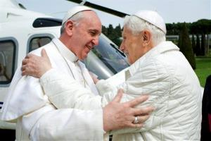 Pope Francis meets Pope emeritus Benedict XVI at the papal summer residence.