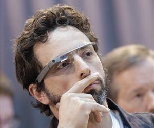 Google co-founder Sergey Brin wears Google Glass glasses at an announcement for the Breakthrough Prize in Life Sciences at Genentech Hall on UCSF's Mission Bay campus in San Francisco, Feb. 20, 2013.