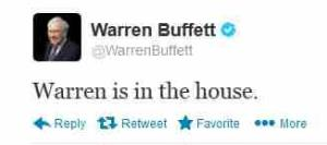A screen grab of Buffett's first tweet.