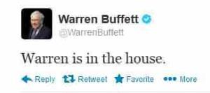 A screen grab of Buffett's first tweet.