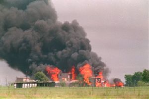 Flames engulf the Branch Davidian compound in this April 19, 1993 file photo, in Waco, Texas.